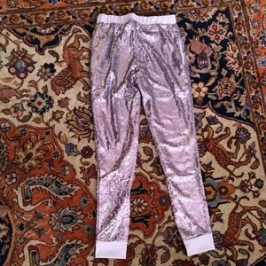 Pants - Silver Sequin Joggers with pockets Sz S